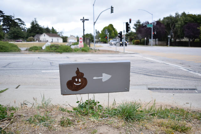 Wastewater Walk: Slugs to Sludge wayfinding sign in Santa Cruz, 2015, FICTILIS, digital photograph, © FICTILIS. (Used with Permission.)