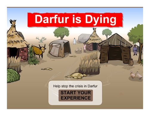 Darfur is Dying, 2006, Take Actions Games, on-line narrative-based simulation videogame, © Susana Ruiz. (Used with Permission.)