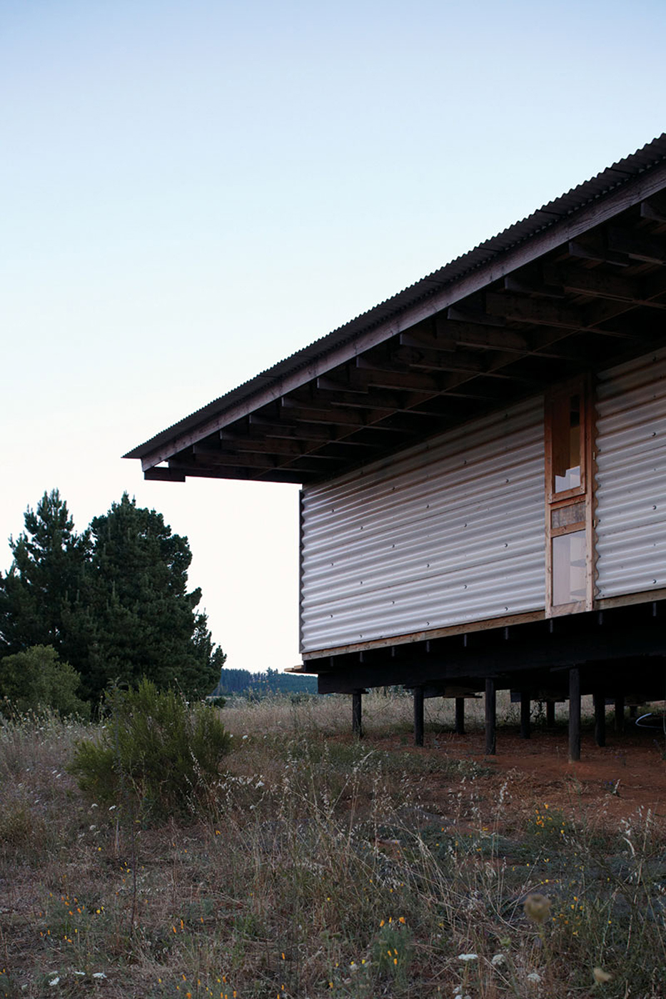 Eduardo Castillo, Gallinero House, 2000-2007, 110m2. Florida, Concepción, Chile. Exterior, pine, and corrugated PVC. Photo: Cristobal Palma, used with permission.