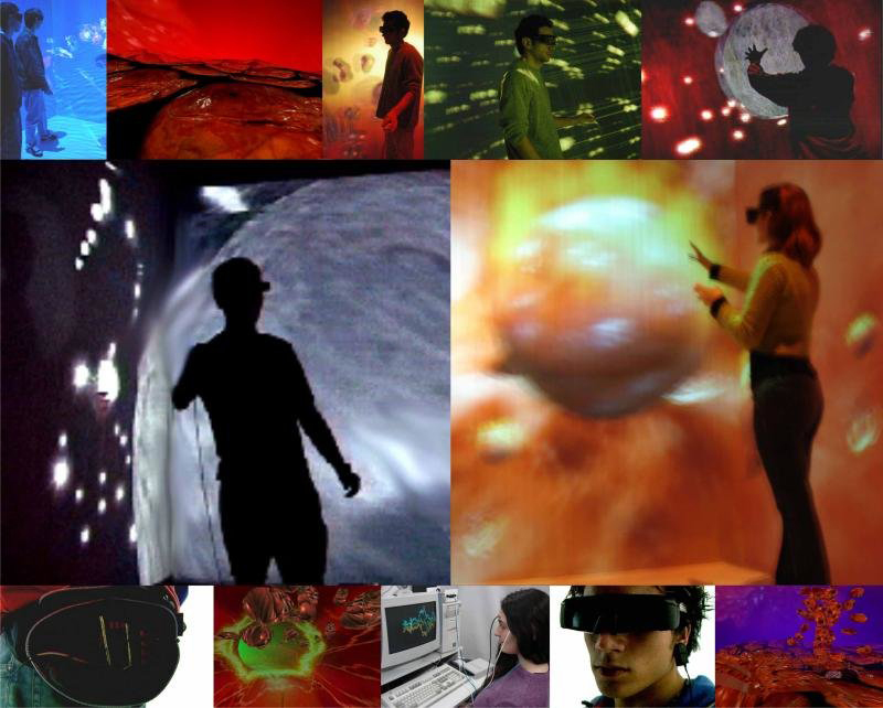 Fig. 10. HEARTSCAPES, 2005-2009, NTAV CAVE, immersion in a data landscape of the heart controlled by trackers, stereoscopic glasses, biofeedback of heartbeats and electrooculogram (EOG). Brazil. © Diana Domingues/CNPq.