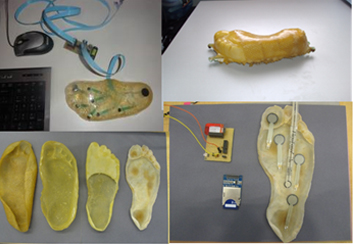 Figs. 16. Cidadepathia, 2014. Brazil. a) sensorized insole b & c) living maps in enactive affective systems and innovation for art and technoscience and health. © Diana Domingues/CNPq.