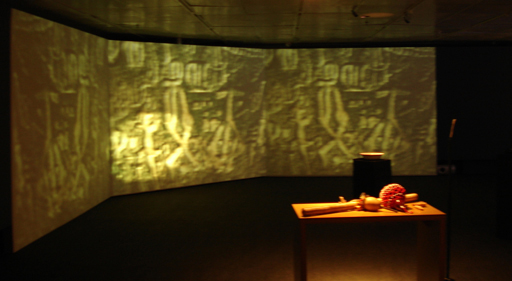 Fig. 4. The Cavern of Trance, 2005, 2007, 2009. Large screen, Ingá Stone projections. Memories of the Future, 10 Years Art and Technology, Instituto Itaú Cultural São Paulo, Brazil. © Diana Domingues/CNPq.