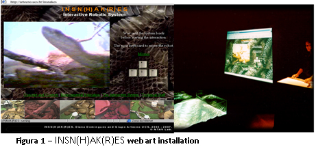 Fig. 8. INSN(H)AK(R)ES, 1998, web art installation. © Diana Domingues/CNPq.