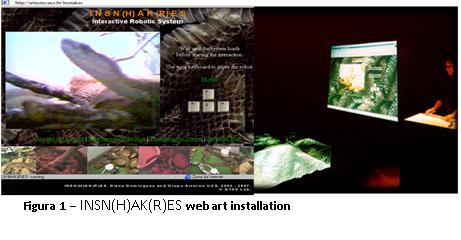 Fig. 8. INSN(H)AK(R)ES, 1998, web art installation. © Diana Domingues/CNPq.