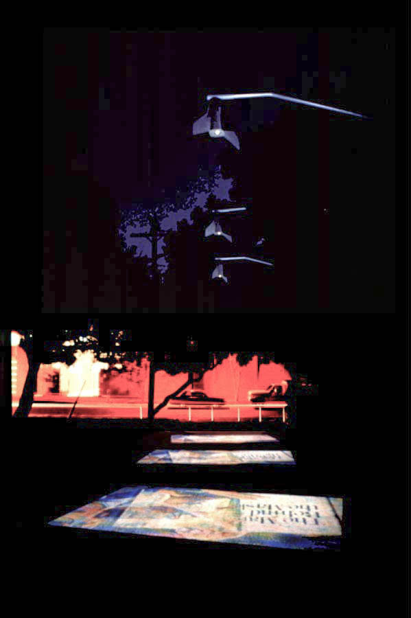 "Sheldon Brown ""Video Wind Chimes"" Computer Graphic rendition of installation using four video projectors, electronic controls, aluminum, plastic. Yerba Buena Center for the Arts in San Francisco, CA. 1994. Image courtesy of the artist."